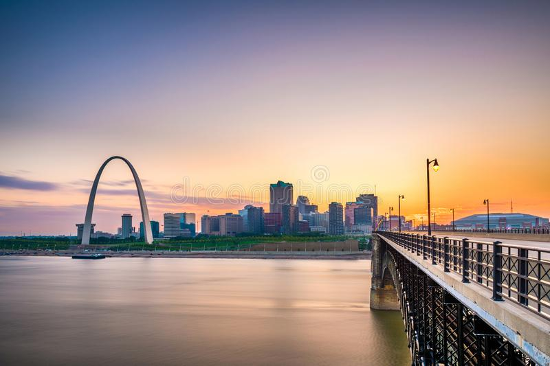St. Louis, Missouri, USA downtown cityscape on the Mississippi River. At twilight stock image