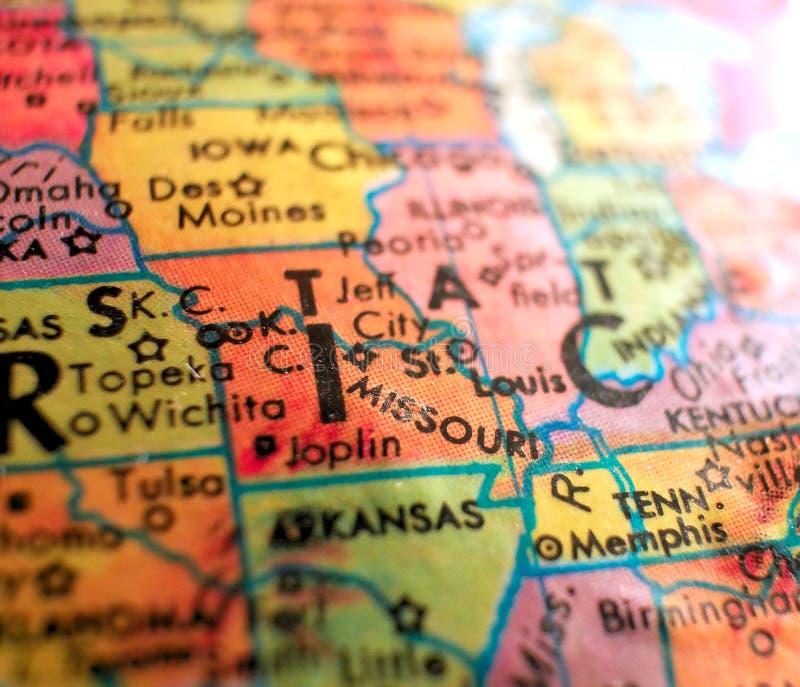 St Louis Missouri usa ostrości makro- strzał na kuli ziemskiej mapie dla podróż blogów, ogólnospołecznych środków, sieć sztandaró obraz stock