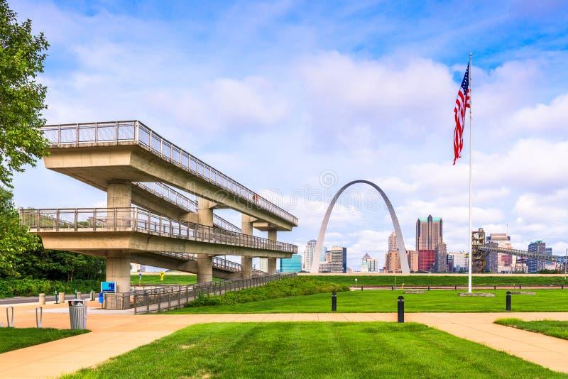 St. Louis, Missouri, USA Park and Skyline. St. Louis, Missouri, USA park overlook and skyline in the daytime royalty free stock photos