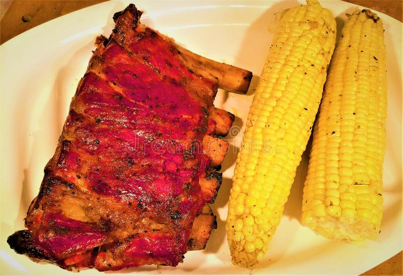 St Louis Smoked Pork Spareribs fotografia de stock royalty free