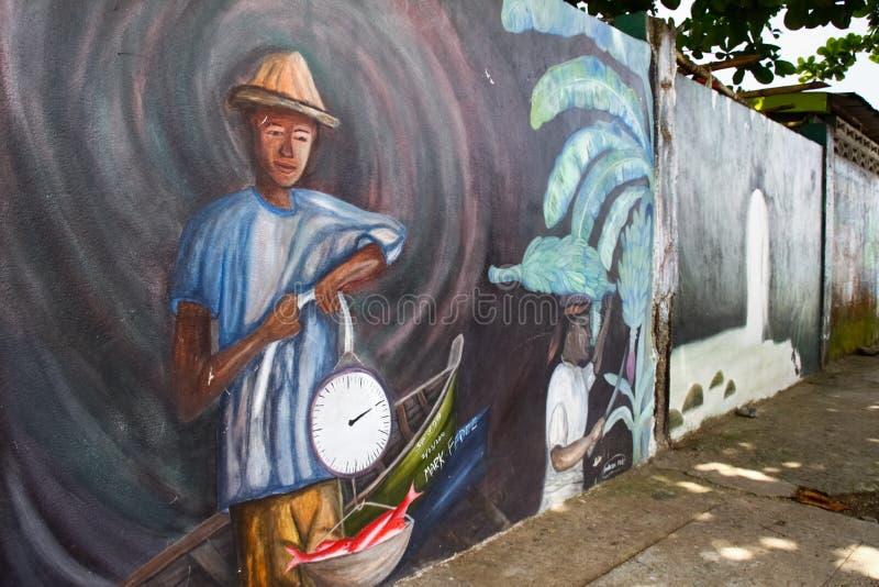 St Lucia - Arte Del Caribe De La Pared De Raye Del La De Anse Imagen editorial