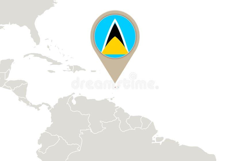 St. Lucia auf Weltkarte vektor abbildung