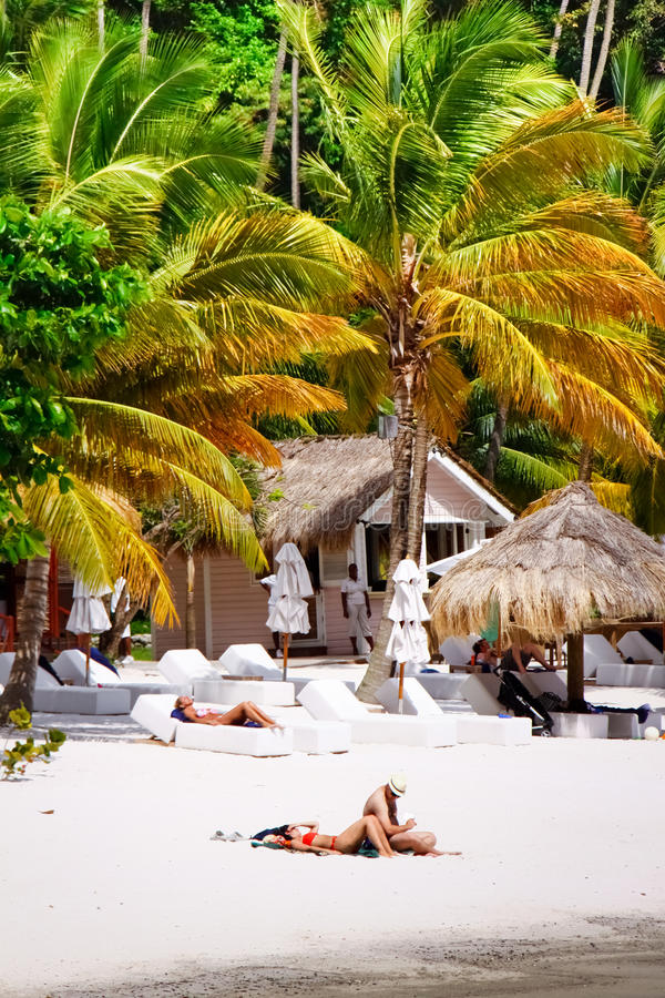 St. Lucia die - in Paradijs zonnebaadt royalty-vrije stock foto's