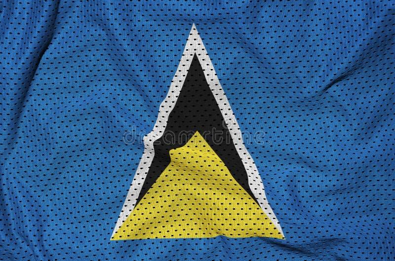 St Lucia flagga som skrivs ut på en fa för ingrepp för polyesternylonsportswear royaltyfri bild