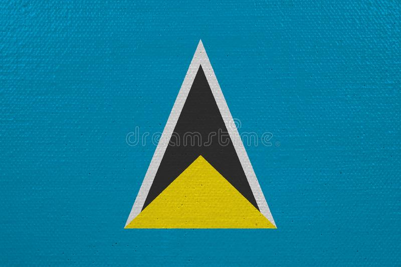 St. Lucia-Flagge auf Segeltuch lizenzfreie abbildung