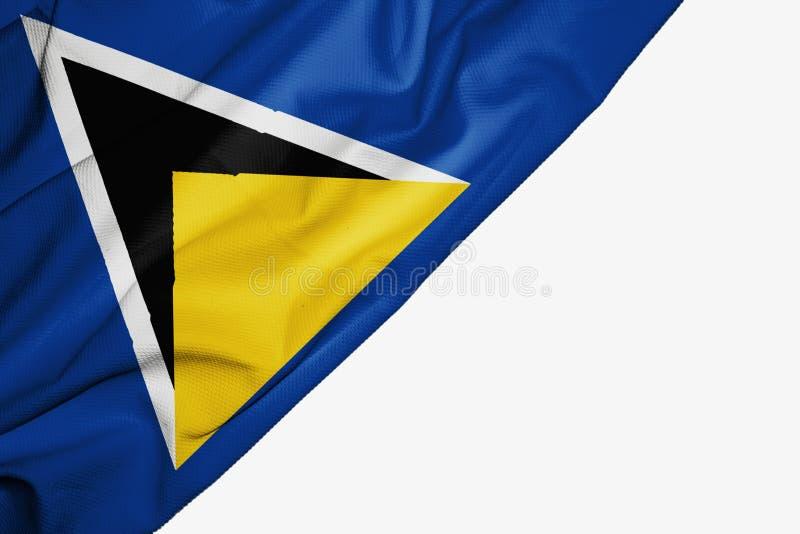 St. Lucia-Flagge des Gewebes mit copyspace f?r Ihren Text auf wei?em Hintergrund vektor abbildung