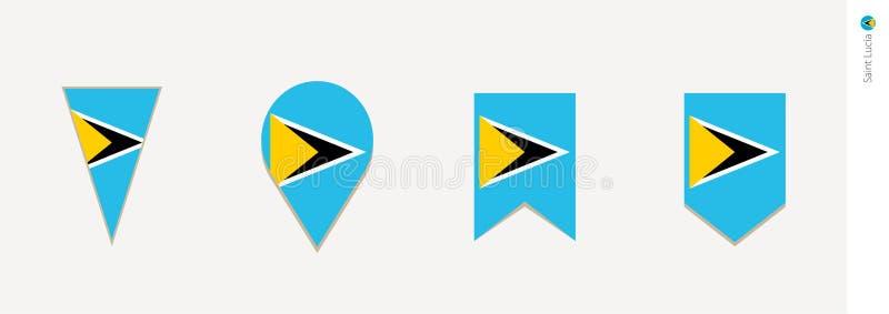 St. Lucia-Flagge im vertikalen Entwurf, Vektorillustration lizenzfreie abbildung