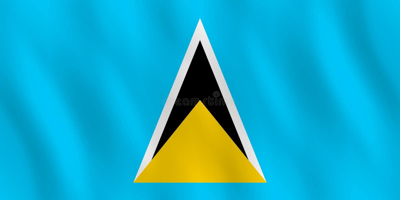 St. Lucia-Flagge mit wellenartig bewegendem Effekt, offizieller Anteil lizenzfreie abbildung