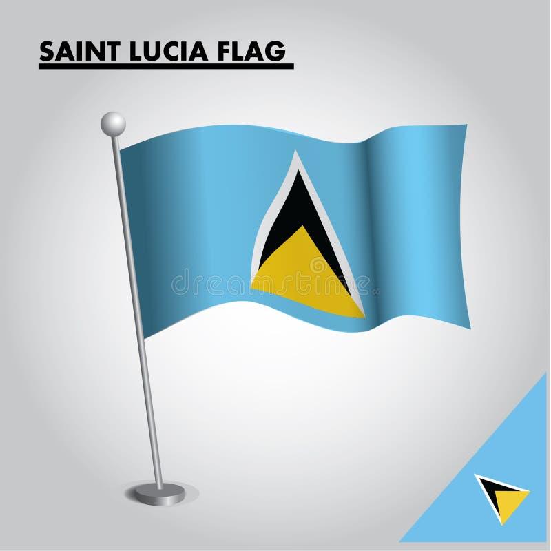 ST. LUCIA-Flagge Staatsflagge der ST. LUCIA auf einem Pfosten vektor abbildung