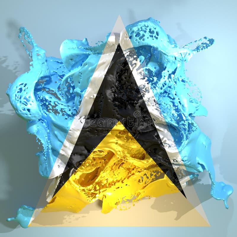 St. Lucia-Flaggenflüssigkeit stock abbildung