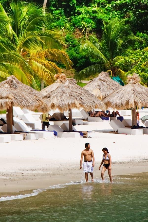 St. Lucia - het Romantische Strand van de Jaloezie stock afbeeldingen