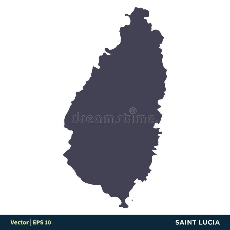 St. Lucia - Nordamerika-Länder zeichnen Ikonen-Vektor Logo Template Illustration Design auf Vektor ENV 10 lizenzfreie abbildung