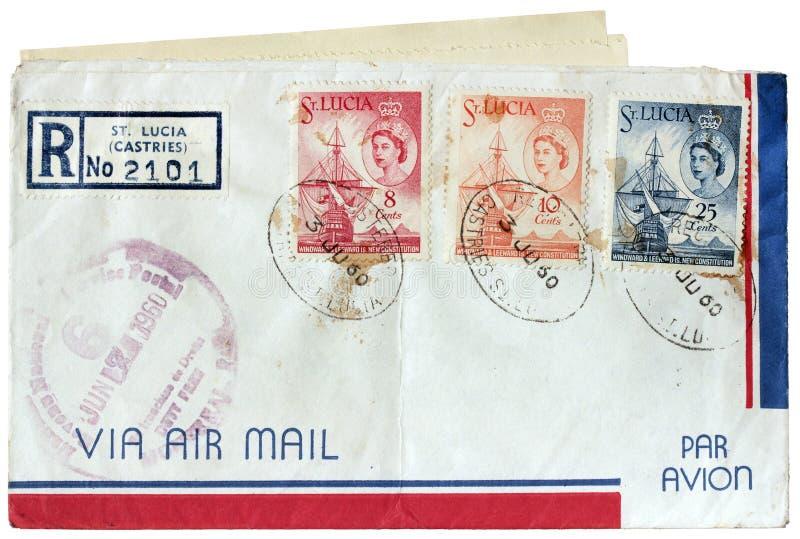 St Lucia Postal Cover foto de archivo libre de regalías