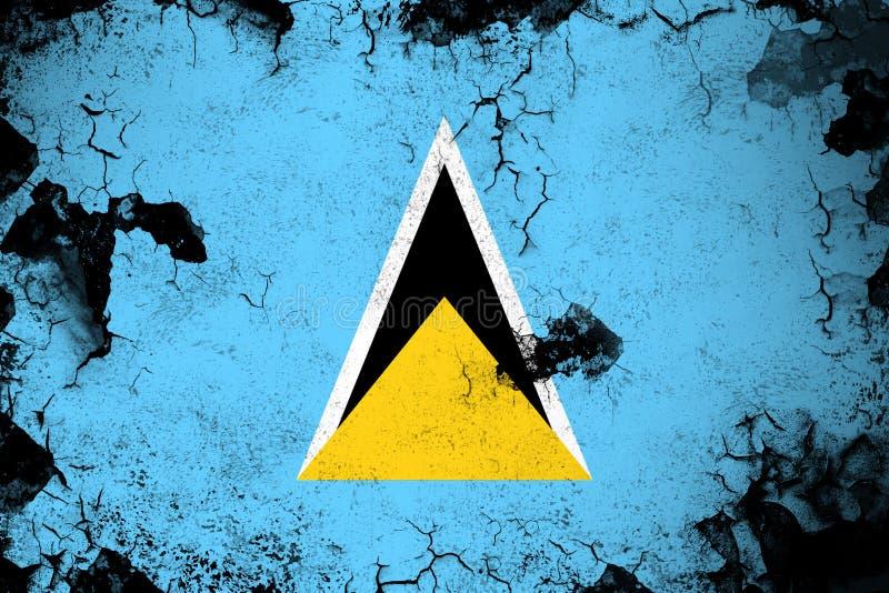 St. Lucia rostig und Schmutzflaggenillustration lizenzfreie abbildung