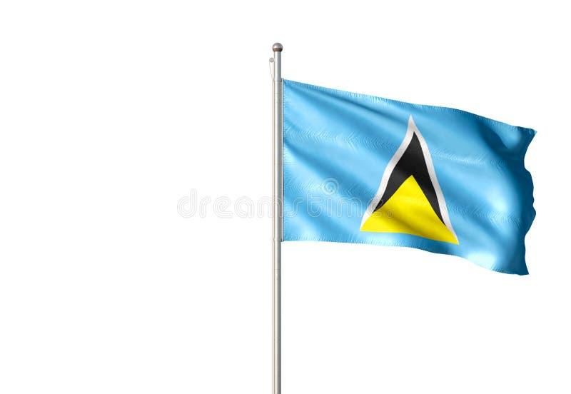 St. Lucia-Staatsflagge, die lokalisierte realistische Illustration 3d des weißen Hintergrundes wellenartig bewegt vektor abbildung