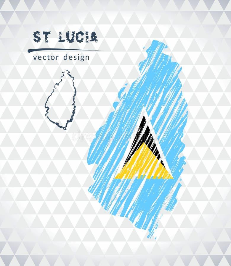 St. Lucia-Vektorkarte mit dem Flaggeninnere lokalisiert auf einem weißen Hintergrund Gezeichnete Illustration der Skizzenkreide H vektor abbildung