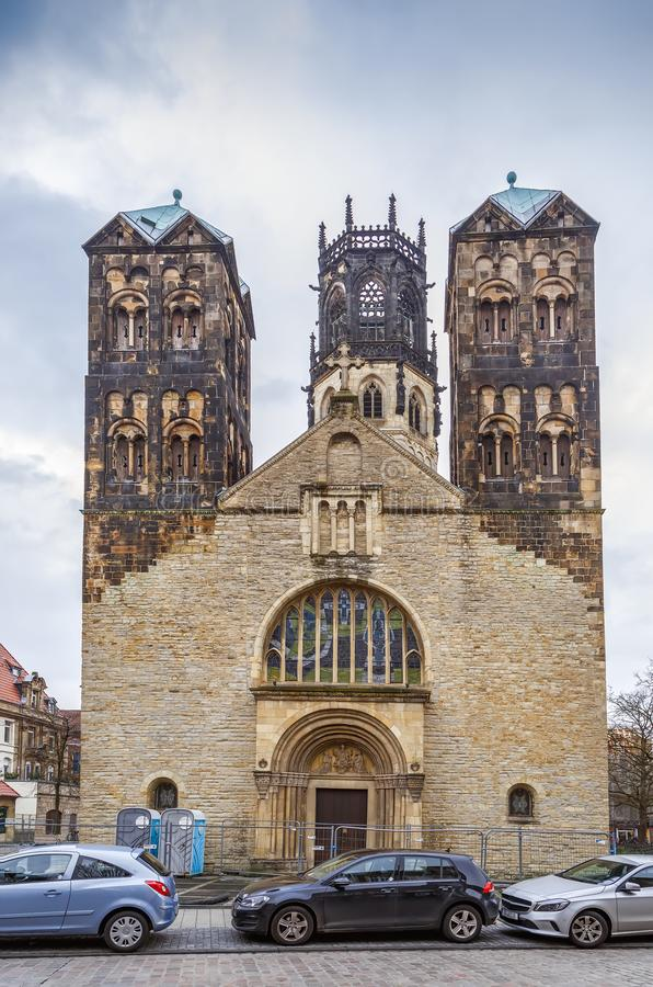 St. Ludgeri church, Munster, Germany. St. Ludgeri church is one of the oldest Catholic sacred buildings and was built in 1173, Munster, Germany stock photography