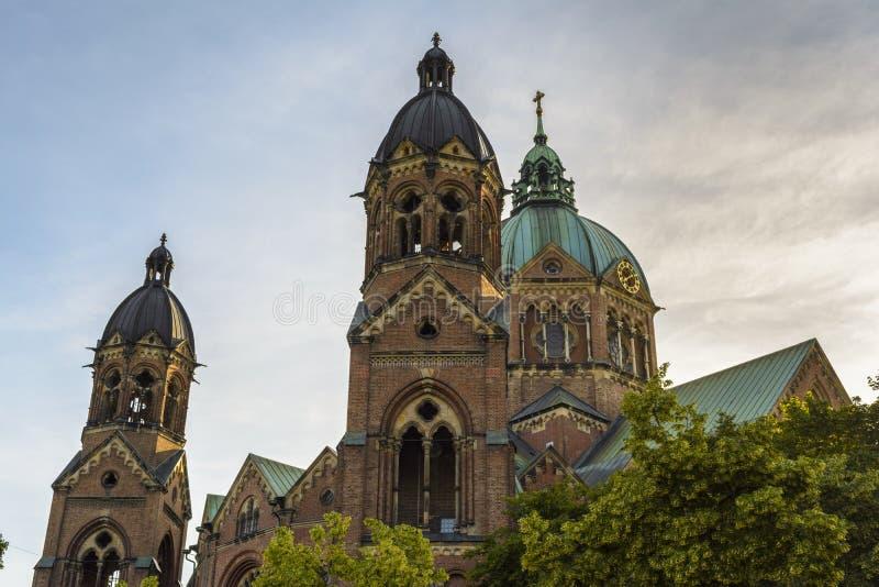 St Lukas Church i Munich, Bayern, Tyskland royaltyfri bild