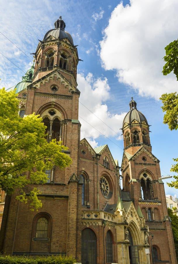 St Lukas Church i Munich, Bayern, Tyskland royaltyfri fotografi