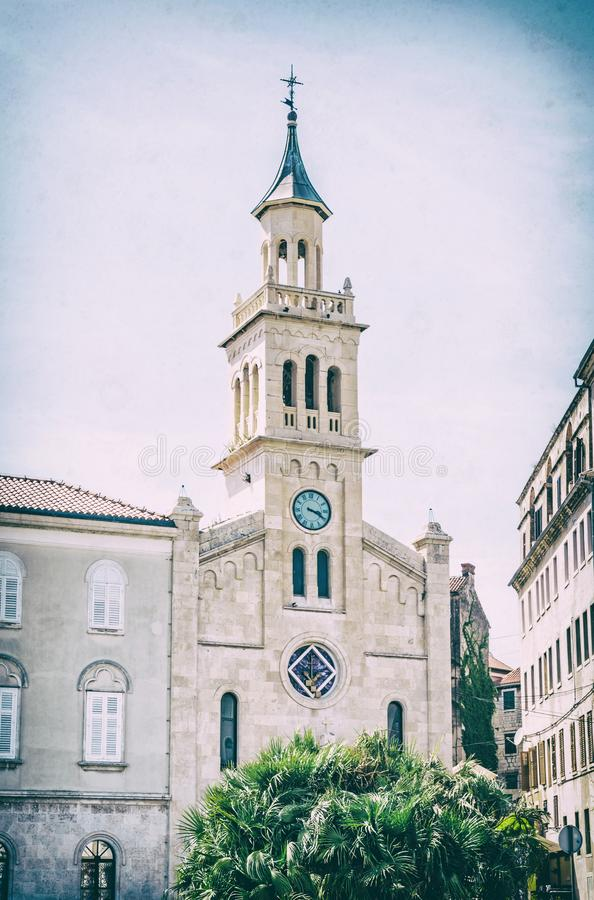 St. Luke church in Split, Croatia, analog filter. St. Luke church in Split, Croatia. Religious architecture. Travel destination. Analog photo filter with stock images