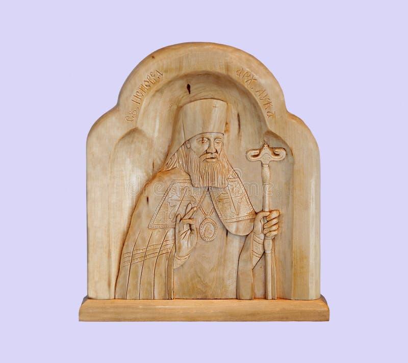 St Luke - doutor do bispo no fundo malva imagem de stock royalty free