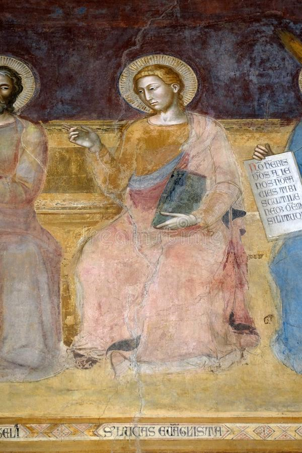 St Luke Evangelist, fresque en église de Santa Maria Novella à Florence image stock
