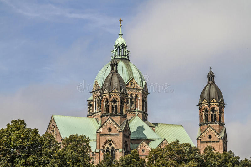 St. Luke in Munich. The Evangelical Lutheran Church of St. Luke is the only almost fully preserved Protestant Church of historicism in Munich stock image