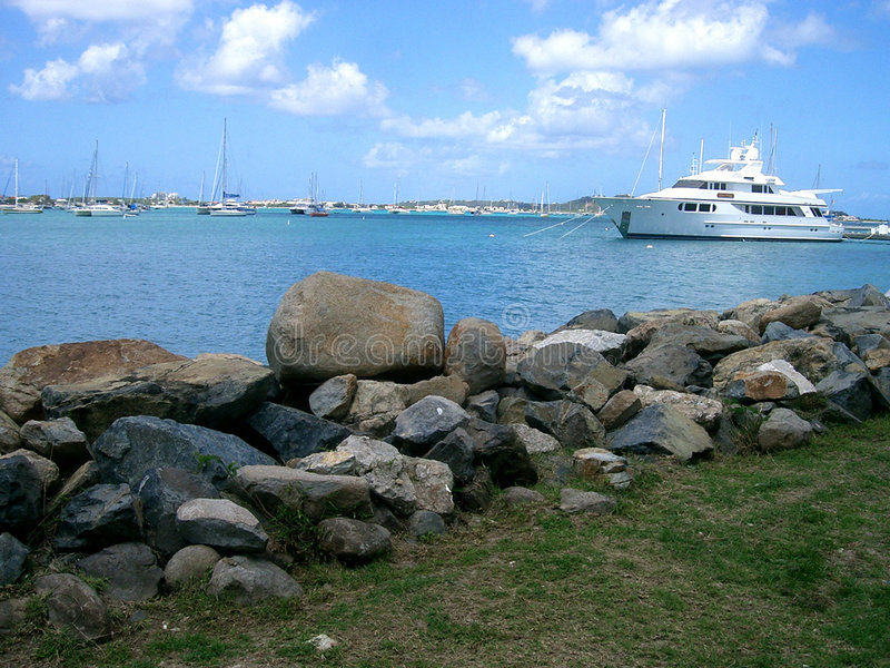 St. Maarten del puerto del barco imagen de archivo libre de regalías