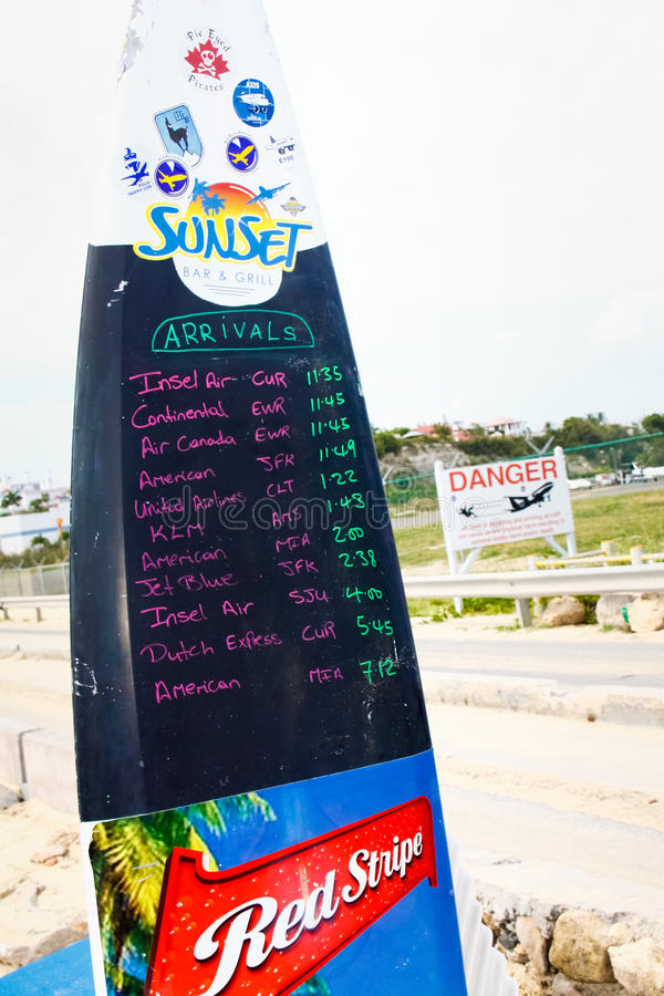 St. Maarten Maho Bay Flight Arrival Surfboard royalty free stock photos