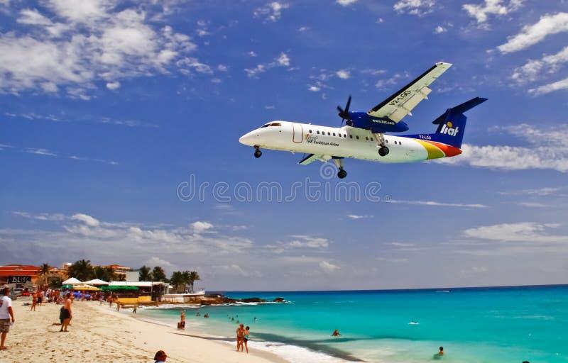 St. Maarten Maho Bay Liat Plane Landing stock photography