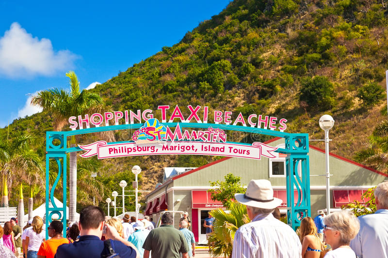St. Maarten Welcome Sign lizenzfreie stockfotos