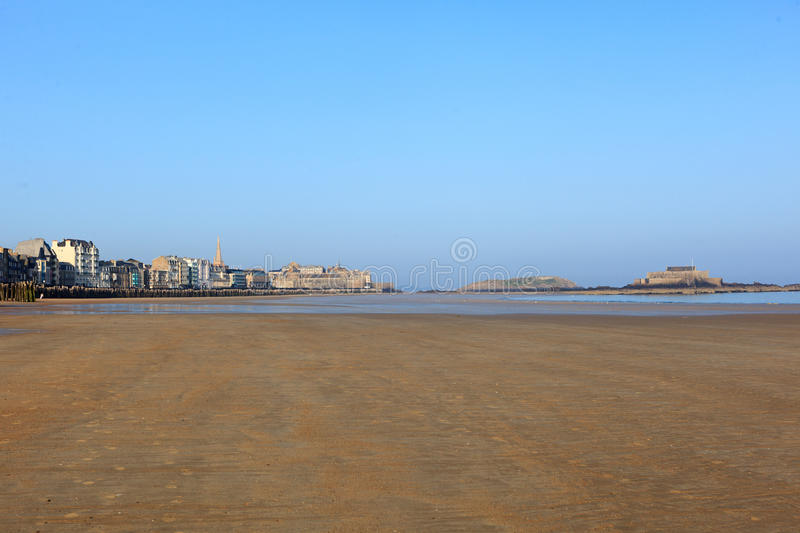 St-Malo and the magnificent city beach. France stock photography