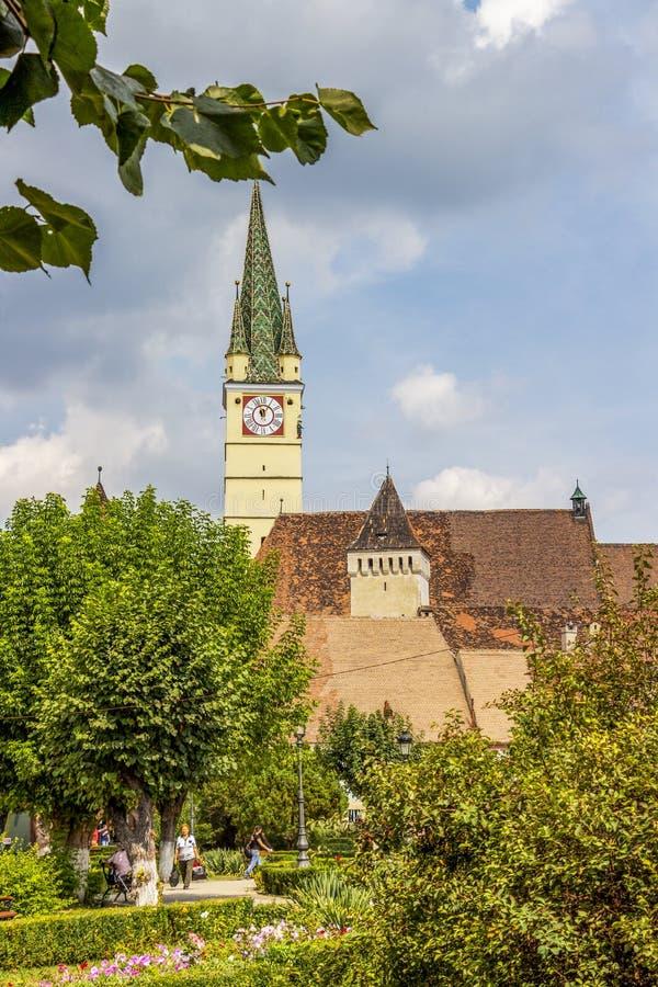 St Margaret kościół, Medias miastowy widok, Rumunia zdjęcie royalty free