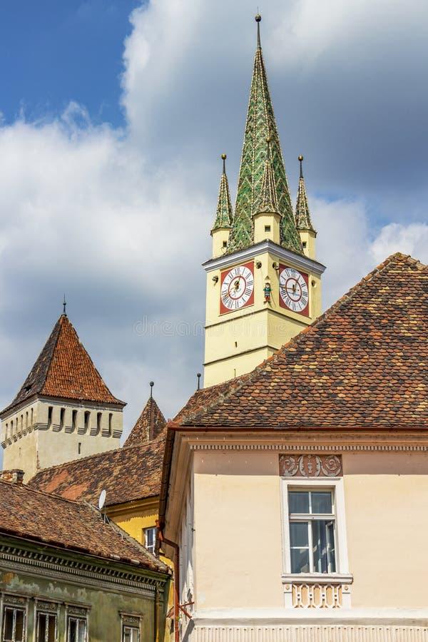St. Margaret`s Church at Medias, Transylvania, Romania stock photo