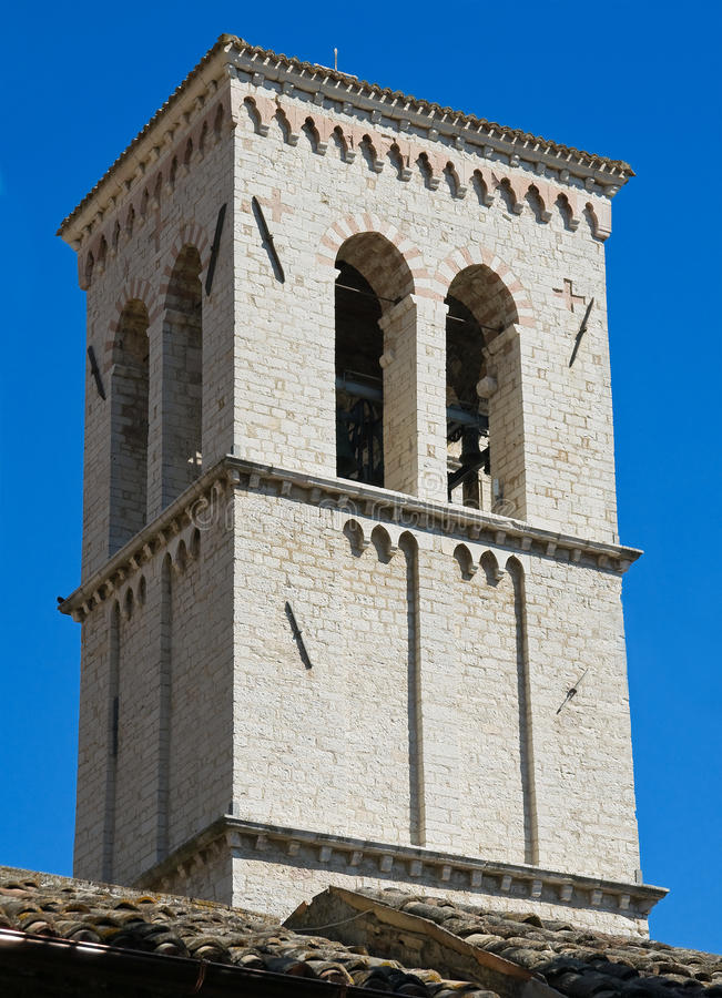 St. Maria Maggiore Belltower Church. Assisi. royalty-vrije stock afbeelding