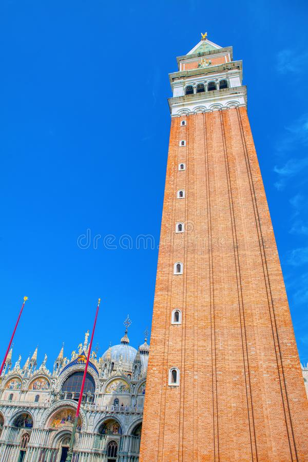 St Mark Campanile. Bell tower of St Mark`s Basilica in Venice, Italy royalty free stock photography
