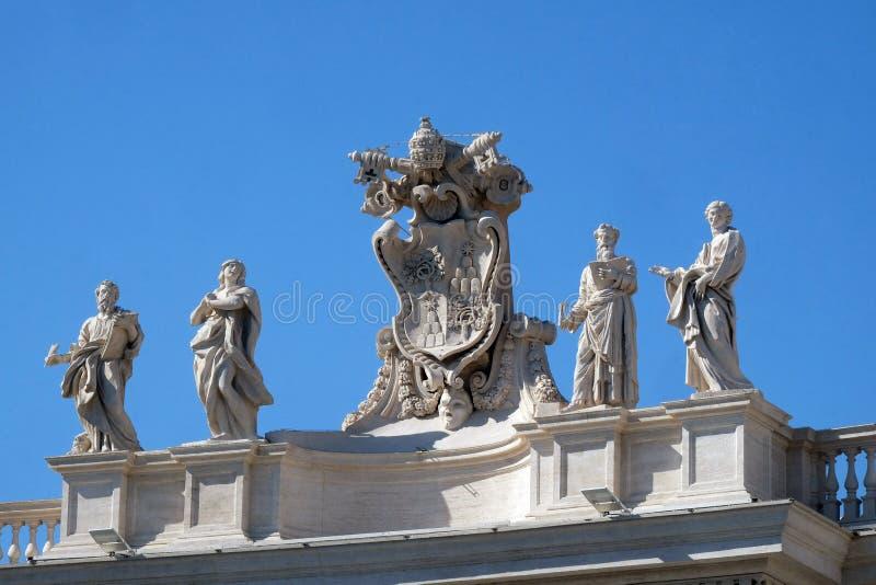 St Mark Evangelist, Mary van Egypte, Alexander VII-Wapenschild, Ephraim en Theodosia van Band stock afbeelding