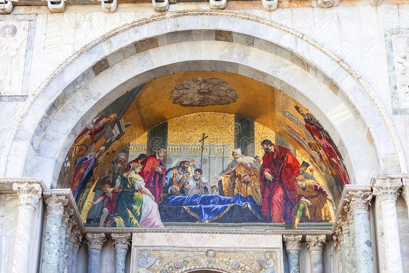 St Mark`s Basilica Basilica di San Marco, mosaic on facade, Venice, Italy royalty free stock photography