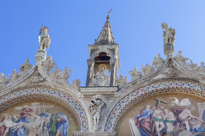 St Mark`s Basilica Basilica di San Marco, mosaic on facade, Venice, Italy stock image