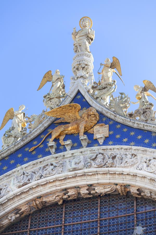 St Mark`s Basilica Basilica di San Marco, Lion of Venice , Venice, Italy royalty free stock photo