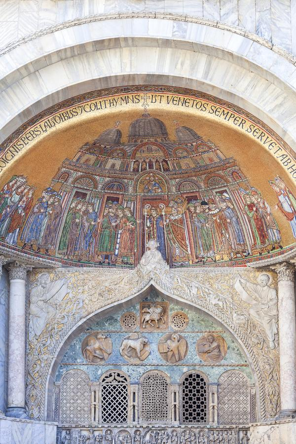 St Mark`s Basilica Basilica di San Marco, mosaic on facade, Venice, Italy stock images
