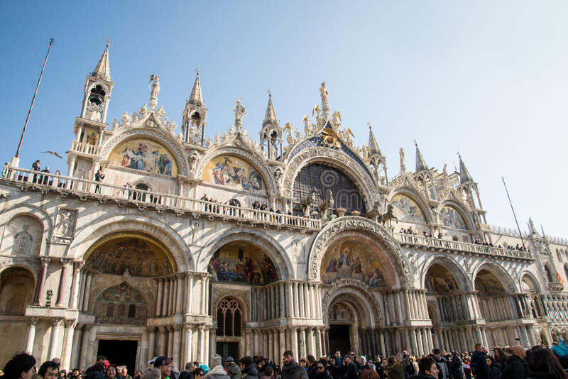 St Mark`s Basilica in Venice. Venice is one of the most famous cities in Italy. It`s always full of tourists. The symbol of the city is the mask. There are stock images