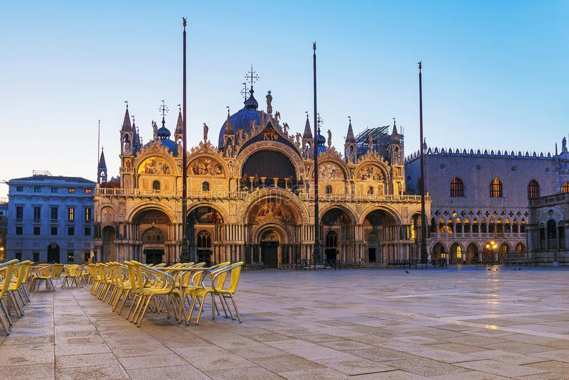 St- Mark` s Basilika in Venedig Marktplatz San Marco stockfotografie