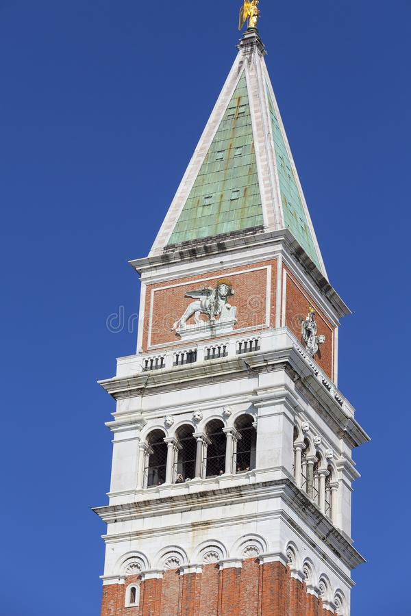 St Mark`s Campanile Campanile di San Marco in the Piazza San Marco, Venice, Italy. Bell tower is one of the most recognizable symbols of the city royalty free stock images