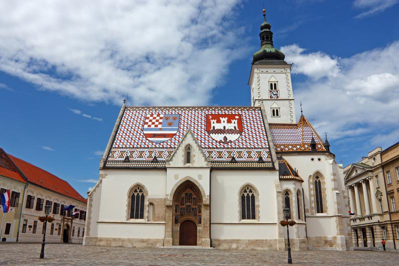 St. Mark`s church. Church of St. Mark, Zagreb, Croatia royalty free stock photography