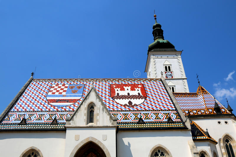 St. Mark& x27;s Church, Zagreb. The Church of St. Mark, historic church in St. Mark& x27;s Square, in Zagreb, Croatia. Roof tiles represent the coat of arms of stock image