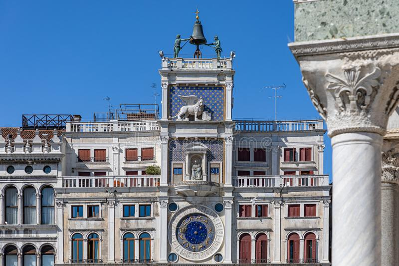 St Mark`s Clock. San Marco square Piazza San Marco, Venice. The clock tower of Piazza San Marco royalty free stock photos