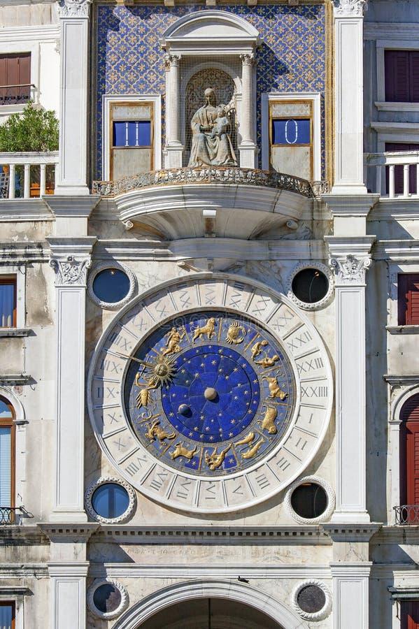 St Mark`s Clock Tower - Piazza San Marco in Venice. Venice Veneto Italy royalty free stock photo