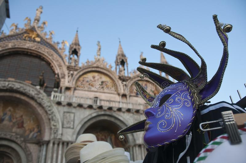 St. Mark Square and carnival mask, Venice, Italy stock photo