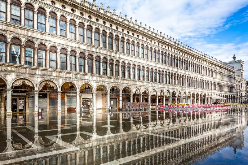 St Mark`s Square flooded with reflection in Venice, Italy royalty free stock image
